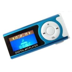 Portable Shiny Mini USB Clip LCD Screen MP3 Media Player Support 16GB Micro SD Card Blue