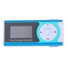 Portable Shiny Mini USB Clip LCD Screen MP3 Media Player Support16GB Micro SD Card Sports MP3 Music Player MP3 / WMA A29 (Blue) - Intl