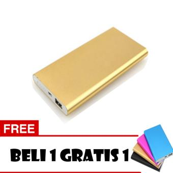 Powerbank Ultra Slim 99000MAh Aluminium Case - Gold + Free 1 Pcs