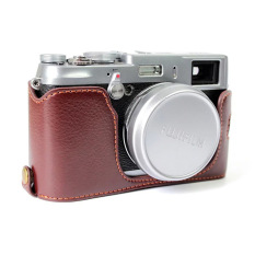 Protective Genuine Leather Half Camera Case Bag Cover Base ForFujifilm X100 / X100S / X100T (Camera Not Included) Coffee