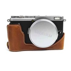 Protective PU Leather Half Camera Case Bag Cover Base For Fujifilm X70 (Camera Not Included) Brown