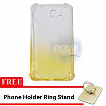 Rainbow Case Anti Crack Samsung Galaxy J5 Prime Soft Case GradasiColours / Jelly Casing Samsung J5 Prime / Case Shockproof /Softshell Ultrathin Gradasi Samsung + FREE Phone Holder Ring -Kuning