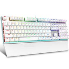 RAPOO USB Cable 108 Keys White Mechanical Keyboard V720RGB With Black Switches And Colorful Backlights