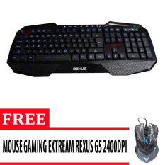 Rexus Keyboard Gaming Extream K1 (High Quality) - Hitam + Gratis Mouse Rexus Gaming 3D Rxm G5 (Good Quality) - Hitam