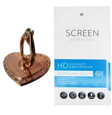 Rose Gold Love Ring Stand (firmly stick on phone / phone cover case) + Gratis 1 Clear Screen Protector for Motorola Moto E3