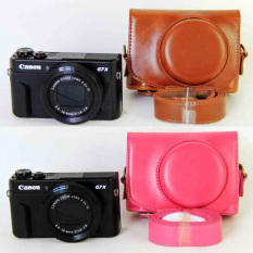 Rose Red NEW Leather Case Camera Case Bag Cover For Canon G7x Mark II G7X II G7X2 Camera Cover + Strap (Intl) - Intl