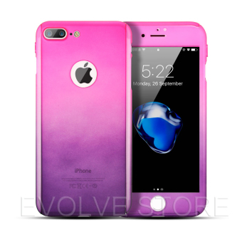 Roybens 360 Degree Full Body Protect Gradient Color Hard Slim Case with Tempered Glass for iPhone