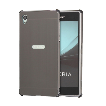 RUILEAN Luxury Metal Aluminum Bumper for Sony Xperia Z4 CaseDetachable + Brushed PC Hard Back 2 in 1 Cover Ultra Thin FrameGrey