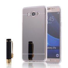 RUILEAN Soft TPU Case Cover for Samsung Galaxy J7 2016 J710 Flexible Bumper Mirror Effect Electroplate Back Black - intl
