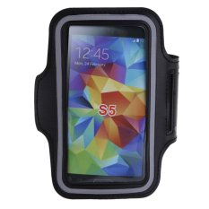 Black Sport Workout Running Jogging Gym Arm Band Case Cover For Samsung S5 (Black)