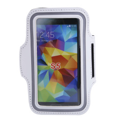 White Sport Workout Running Jogging Gym Arm Band Case Cover For Samsung S5 (White)
