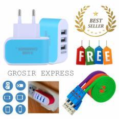 Safe Charger 3 Port USB - Biru + Gratis 3 Buah Kabel Data Smile Micro USB