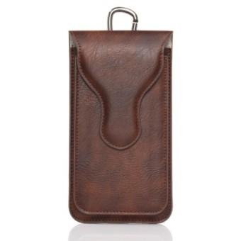 Sarung Dompet Tas Pinggang Kulit untuk 2 HP Handphone dengan Carabiner Ukuran 5,5 Inch