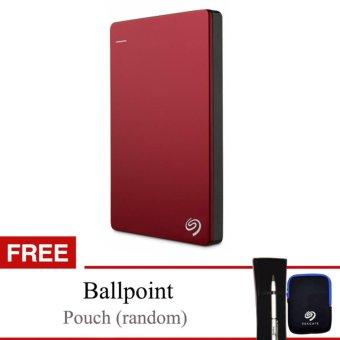 "Seagate Backup Plus Slim 1TB 2.5"" USB 3.0 - Merah + Gratis Pouch & Ballpoint"