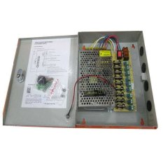 Secure Power Supply Adaptor CCTV Panel Box 12V 10A 9Ch