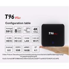 Smart TV Box T96Plus 3GB 16GB Amlogic S912 Octa-Core Android 6.0 ARM Cortex-A5.64-bit BT4.1 HD 4K Midia Player