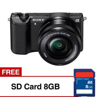 Sony Alpha a5100Kamera Digital Mirrorless - Lensa 16-50mm - 24.3 MP - Hitam + Gratis SD Card8GB