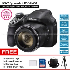 SONY Cyber-shot DSC-H400 20.1MP 63x Zoom Full HD + SanDisk 16Gb + Screen Protector + Camera Bag + Takara Eco-193A