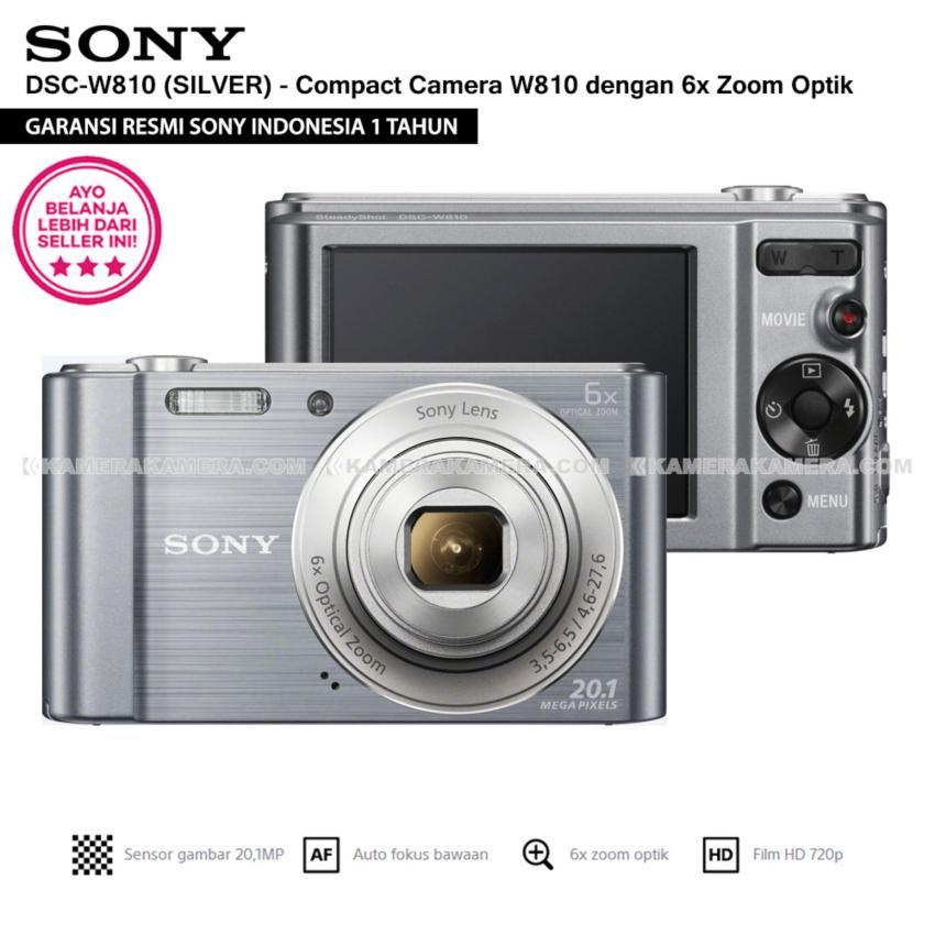 SONY Cyber-shot DSC-W810 Compact Camera W810 (SILVER) 20.1 MP 6x Optical Zoom HD Movie 720p - Resmi Sony
