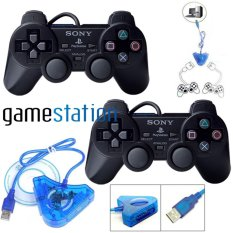 Sony Paket : 2 Stik PS2 Original Pabrik + Converter USB - Buat Main PES di PC / Game Lain