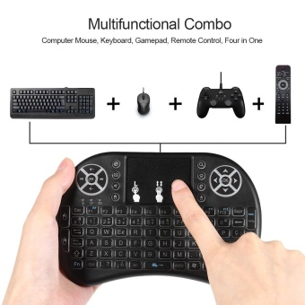 Spanish Version Backlit 2.4GHz Wireless Keyboard Air Mouse Touchpad Handheld Remote Control Backlight for Android TV BOX PC Smart TV Black - intl