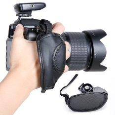 Sunwonder PU Leather Camera Hand Grip Wrist Strap For Canon Nikon Sony (Black) (Intl)