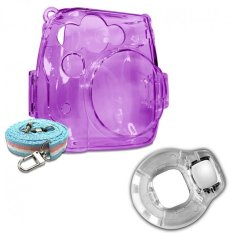 Takashi Grape Crystal Protective Case + Clear Selfie Close-up Lens For Fujifilm Instax Mini 8 Instant Camera