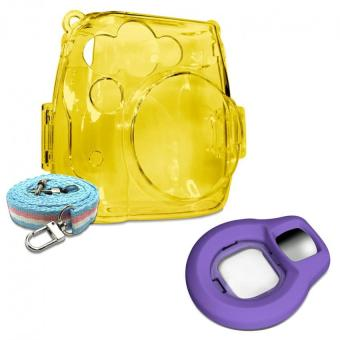 Takashi Yellow Crystal Protective Case + Grape Selfie Close-up Lens For Fujifilm Instax Mini 8 Instant Camera