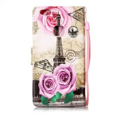 Taoyi High Quality Printed lanyard Flip Leather Case For S amsung Galaxy A3 (2017)(Flower tower) - intl