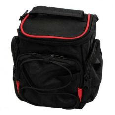 Tas Kamera Handycam Slempang Camera Bag U / Semipro Canon Nikon Sony - Hitam Lis Merah