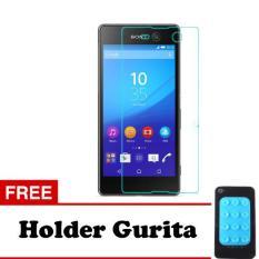 Tempered Glass Sony Xperia M5 Screen Protector Putih Transparant Free Holder Gurita Daftar .