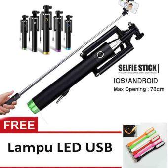 Tongsis Monopod Kabel Selfie Stick Hijau Lampu LED USB .