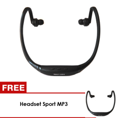 UNiQue Headset In Ear Sport MP3 Player + FM Radio Headset - Hitam - BUY 1 GET 1