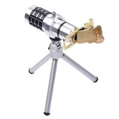 Universal 12X Optical Zoom Clip-On Aluminum Mobile Phone Telephoto Manual Focus Telescope Camera Lens Phone Lens (Silver)
