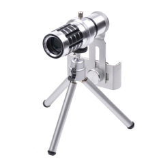 Universal 12X Optical Zoom Clip-On Aluminum Mobile Phone Telephoto Manual Focus Telescope Phone Lens (Silver) (Intl)