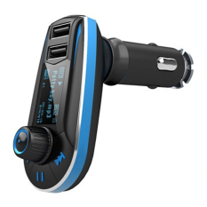 Universal Car FM MP3 Modulator with USB Charger 2.1A For Smartphone - 618C - Hitam-Biru