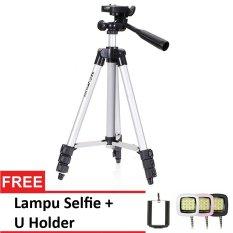 Universal Tripod For Camera And Smartphone + Gratis U Holder + Lampu Selfie
