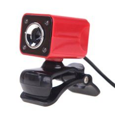 USB 2.0 12 Megapixel HD Camera Web Cam with MIC Clip-on Night Vision 360 Degree For Desktop Skype Computer PC Laptop Red Shell