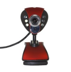 USB 50.0 Mega 6 LED HD Webcam with MIC For Computer (Red)