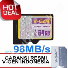 V-Gen MicroSDHC 64GB Hyper - 98MB/s Class10 USH-3 Micro + Gratis SD Adapter Memory Card