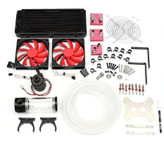 Water Cooling Kit 240 Radiator CPU GPU Block Pump Reservoir Tubing Barb 3/8 ID - Intl