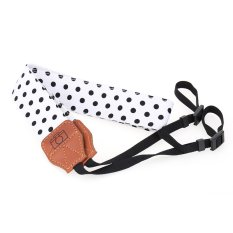 White And Black Universal Adjustable DSLR Camera Shoulder Neck Strap Belt Soft Cotton Polka Dots With Harness Adapter For Nikon Canon Panasonic