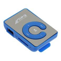 Whyus Sport Mini Mirror Clip USB Digital Mp3 Music Player Support 8G Micro SD TF Card (Blue)