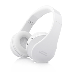 Wireless Bluetooth Headphones Stereo Foldable Handsfree Headset with Microphone For Smartphone White (Intl)