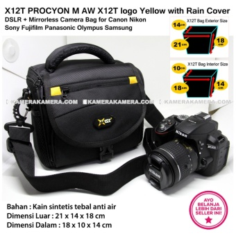 X12T PROCYON M AW X12T logo Yellow with Rain Cover for DSLR + Mirrorless Camera Bag for Canon Nikon Sony Fujifilm Panasonic Olympus Samsung