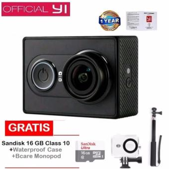 Xiaomi Yi Action Camera - 16 MP - International Edition- Hitam + Sandisk 16 GB + Monopod + Waterproof Case
