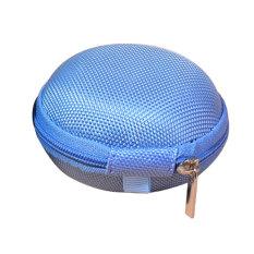 YBC Headset Storage Box Earphone Bag Zipper Coin Purse Key Pouch Bag Light Blue