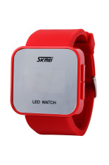 ZUNCLE SKMEI LED Mirror Cool Couple Lover's Fashion Wristwatch (Red)