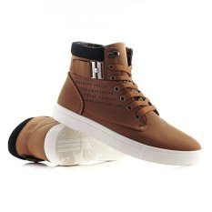 2015 New Men Shoes Fashion Leather Shoe Casual High Top Shoes Canvas Sneakers (Intl)