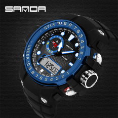 2016 Best Quality SANDA 399 Fashion Outdoor Sports Dual Display Waterproof Electronic Watch (Blue)